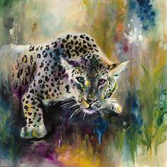 Felid ll -Snow Leopard Art Print By Katy Jade Dobson wwww.arthouse-gallery.co.uk