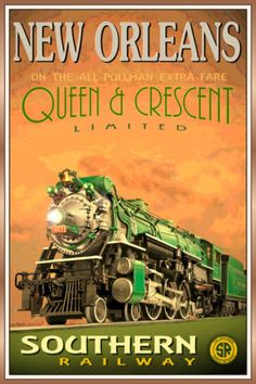 NEW-ORLEANS-LA-QUEEN-CRESCENT-LTD-Southern-Railway-Train-Poster-Art-Print-228a