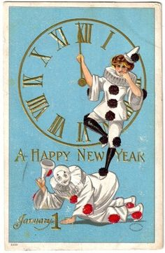 French Clowns New Year's Card