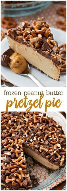 Frozen Peanut Butter Pie Frozen Peanut Butter Pretzel Pie – an AMAZING frozen dessert consisting of a graham cracker and pretzel crust, frozen peanut butter filling, topped with chocolate, pretzels, and peanut butter cups. The most perfect salty and sweet Peanut Butter Pretzel, Peanut Butter Filling, Peanut Butter Desserts, Chocolate Peanut Butter, Chocolate Desserts, Cake Chocolate, Butter Frosting, Frozen Peanut Butter Pie Recipe, Recipes With Peanut Butter