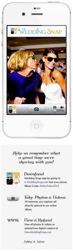 Instantly collect ALL your guests' photos & VIDEOS in a beautiful online album to view & share with your family & friends. www.WeddingSnap.com