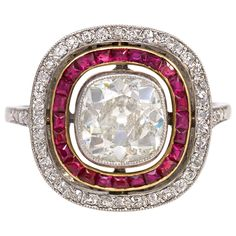 French Art Deco Ruby Diamond Ring | From a unique collection of vintage cluster rings at https://www.1stdibs.com/jewelry/rings/cluster-rings/
