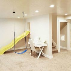 Basement ideas, bright basement, slide in basement, swings in basement, play room ideas, townhouse ideas.