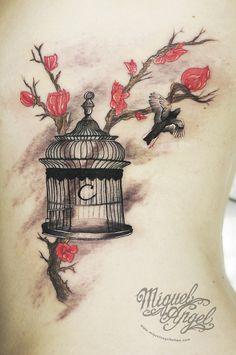 Custom bird cage, and bird flying whit sweet peas flowers tattoo