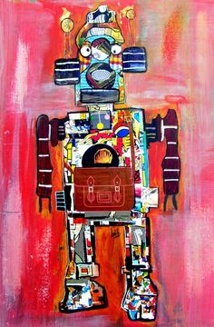 ron the bot  fine art print vintage robot by Oxleystudio on Etsy, $25.00