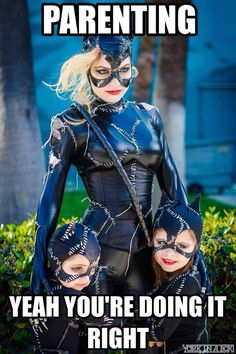 Catwoman and her kittens (Jannelle and her kids) at LBCE 2015 #Cosplay #MEME #YorkInABox