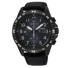 Seiko Men's Prospex Solar Chronograph Leather Strap - First Class Watches™ Sport Watches, Watches For Men, Seiko Solar, Solar Watch, Black Dating, Bracelet Cuir, Seiko Watches, Casio Watch, Leather