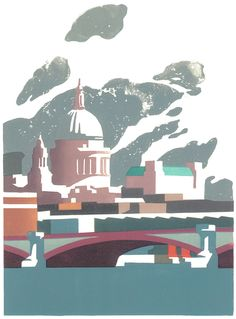 Paul Catherall - St Paul's Cathedral - linocut print