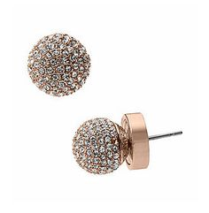 "We love rose gold! It's feminine and a little bit more subtle than yellow gold. These 'Spring Sparkle"" pave ball stud earrings by Michael Kors are the perfect accessory to give your ensemble a hint of sparkle. Michael Kors Outlet, Handbags Michael Kors, Michael Kors Bag, Rose Gold Earrings, Stud Earrings, Crystal Earrings, Michael Kors Earrings, Michael Kors Rose Gold, Bling"