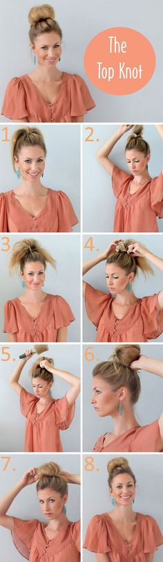 Great tutorial: The top knot. I'm growing my hair and bangs out. This is my go-to style right now! So fast, easy, and pretty. You can dress it up with a headband (or 2) or go much more casual by really keeping it messy after you tease the ponytail.