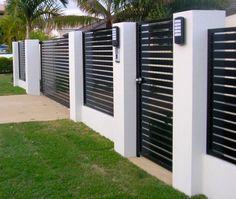 House Fence Design, Modern Fence Design, Front Gate Design, Garden Design, Door Design, Brick Fence, Front Fence, Metal Fence, Front Yards