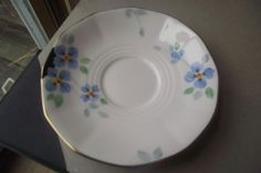 Tuscan China Plant Plate Small Blue Flowers Gold Color Trim Made In England Beau #Tuscan