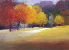 Autumn Landscape Painting, Trees, Path, Fine Art Print reproduction 7.5 x 10. $25.00, via Etsy.