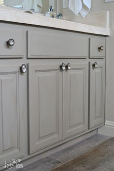 Bath Cabinet Makeover Transformation by Lulu and Linen with French Linen Chalk Paint®
