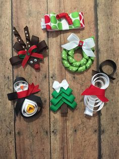 Christmas/ Winter ribbon sculpture hair clips by rainBOWtique13