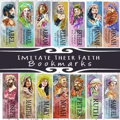 Here is a closer look at the 15 Imitate Their Faith bookmarks!! Available now to pre-order at MainelyBooks.etsy.con!  GIVEAWAY! -For IG only. The first 5 to answer these trivia questions correctly gets the digital download -Imitate Their Faith bookmark of their choice! ➖How long was Jonah in the belly of a fish? ➖How old was Abraham when Isaac was born? ➖ What was Esther's HEBREW name?