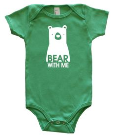 """Bear with Me"" Silhouette Baby Bodysuit.  More Colors Available!"