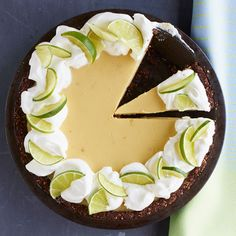 I LOVE Key Lime Pie! Key Lime Pie with Chocolate-Almond Crust Recipe from Food & Wine Beaux Desserts, Just Desserts, Delicious Desserts, Pie Dessert, Eat Dessert First, Dessert Recipes, Tart Recipes, Sweet Recipes, Almond Crust Recipe