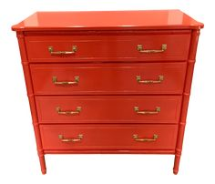 """2 available. Price is for each item. Made for Lew brothers by the Florida furniture company. Beautifully redone in ultra high gloss """"tomato red"""" with shiny gold hardware. Painted Bamboo, Faux Bamboo, Bamboo Furniture, Recycled Furniture, Red Dresser, Bachelors Chest, Furniture Companies, High Gloss, 1970s"""