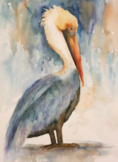 * This listing is for a PRINT of my original watercolor painting, His Beak Can Hold More Than His Belly Can, a line from a poem about the Pelican! *The prints are made on a velvet Giclee paper that looks just like watercolor paper. Its hard to tell the print from an original