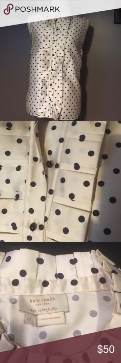Kate Spade size 10 polka dot tank top Kate Spade size 10 polka dot tank. Cute ruffle detail down the front, at the collar and the sleeves. Please see picture 4 for slight wear marks. Barely noticeable when wearing. kate spade Tops Tank Tops