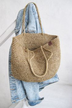 Crochet Beach Bags, Crochet Bags, Knitted Bags, Knit Crochet, Crochet Market Bag, Bag Patterns To Sew, Crochet Patterns, Crochet Bag Tutorials, Tote Pattern