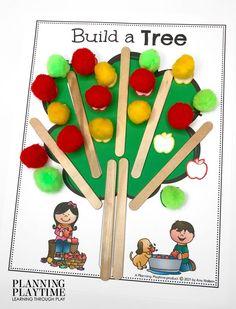 Build Apple Trees: Color Matching & Fine Motor - Apple Worksheets Preschool