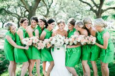 Elegant Charleston Wedding by Love, The Nelsons - Southern Weddings Emerald Wedding Colors, Emerald Green Bridesmaid Dresses, Pink Green Wedding, Wedding Bridesmaid Dresses, Bridesmaids, Bridesmaid Ideas, Kelly Green Weddings, Pink Weddings, Summer Wedding
