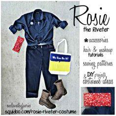 easy last minute DIY halloween costume idea - rosie the riveter - complete w/ hair & makeup tutorials