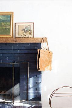 blue brick fireplace