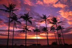 Beautiful sunset in Molokai, Hawaii