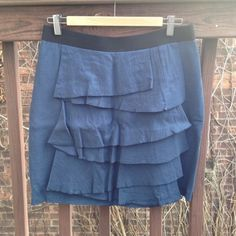 "Marc Jacobs Ruffle Front Skirt Super cute and in perfect condition! Fits a little bigger than an 8 in my opinion. Navy with black elastic waistband. 19"" long from wasitband to hem. Disclaimer-photos are not my own. Marc Jacobs Skirts Midi"