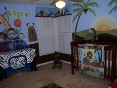 safari #nursery .. too cute! i love that they painted the dresser like a jeep!
