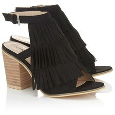 Glamorous Fringed Block Heel Sandals (1.440 RUB) ❤ liked on Polyvore featuring shoes, sandals, block heel sandals, cocktail shoes, heeled sandals, evening shoes and color block sandals