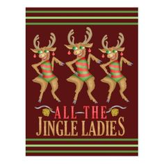 Shop Funny Christmas Reindeer All the Jingle Ladies Postcard created by HaHaHolidays. Cartoon Reindeer, Funny Christmas, Christmas Ideas, Postcard Design, Design Show, Xmas Cards, Elephant Gifts, Cute Cartoon, How To Draw Hands