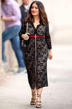 Salma Hayek in a black lace midi dress