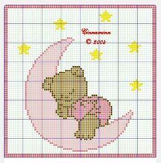 ursulet care doarme pe luna printre stele - model de cusut
