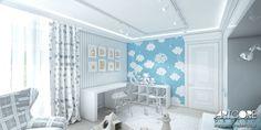Projekt wnętrza pokoju dziecięcego. Pokój chłopca. Niebieska kolorystyka i łagodna stylistyka dopasowana została do wieku i płci dziecka. Więcej na www.artcoredesign.pl