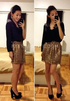 Pretty and lacey black top, cute gold mini, and heels that I wouldn't expect to be so cute!