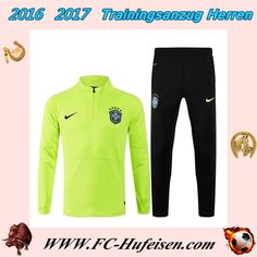 Billige Neue Trainingsanzüge Fussball Herren Kits Brasilien Grün Schwarz Saison 2016 2017 Günstig