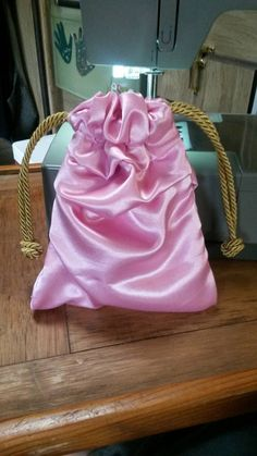 Pink Satin Gift Bag - Drawstring - Pouch - Lined -  Padded - Bride - Bridesmaid