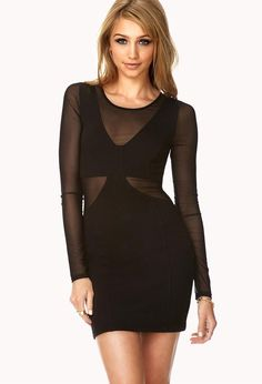 A bodycon dress featuring mesh trim. Round neckline. Long sleeves. Seam-stitched detailing. Invis...