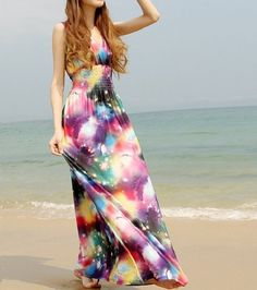 Newest Long Boho Hippie Multicolour Sky Maxi Dress Prom Party Wedding Plus Size  #Unbranded #Maxi #Casual