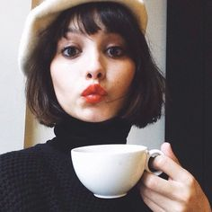 Dark brown short bob with fringe. It really is the classic haircut, from any decade from the 1920s on. Taylor Lashae #pixiemarket