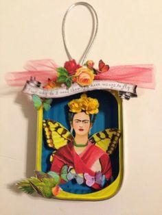 Mexican Crafts, Mexican Folk Art, Altered Tins, Altered Art, Kahlo Paintings, Frida Art, Matchbox Art, Tin Art, Collage