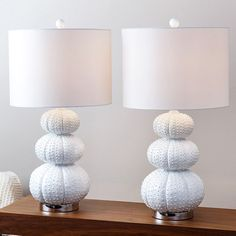 Abbyson Stacked Sea Urchin Lamp (Set of 2) (White) (Acrylic)