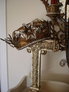 Santos Crown, France (19th c.; antiqued brass finish, paste gemstones).