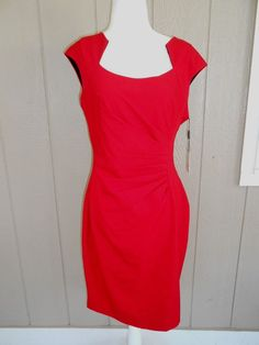 Nwt Calvin Klein Women Sheath Dress Pleated Cap Sleeves Red Size 10 Retail $128 #CalvinKlein #Formal