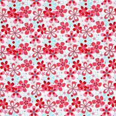 "'Nearby Floral' by Michael Miller Collection ""Aqua Red"""