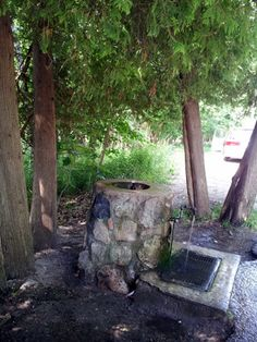 Near Portage Point Inn, stop by the artesian well on the roadside. You'll know it from the tall curving cedar trees that shelter it, and the line of cars that have stopped to fill their water bottles, or get a drink. Best water EVER.